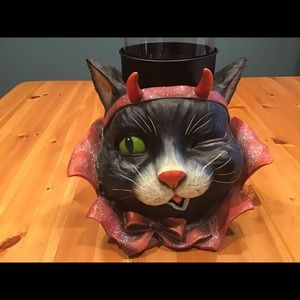 HALLOWEEN MISCHIEVOUS BLACK CAT LG. CANDLEHOLDER